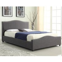 Elle Linen Fabric Storage Double Bed In Grey