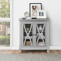Product photograph showing Ellington Wooden Display Cabinet In Grey With 2 Doors