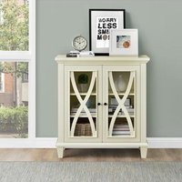 Product photograph showing Ellington Wooden Display Cabinet In Ivory With 2 Doors