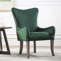 image-Ellis Fabric Bedroom Chair In Green Velvet