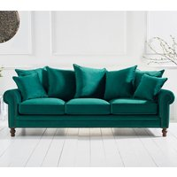 Product photograph showing Ellopine Plush Fabric Upholstered 3 Seater Sofa In Green