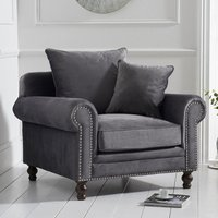Product photograph showing Ellopine Plush Fabric Upholstered Armchair In Grey