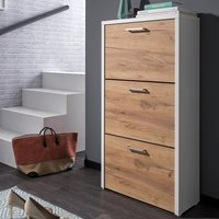 image-Ellwood Shoe Cabinet In White And Golden Oak With 3 Flap Doors