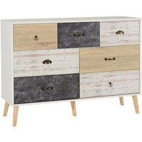 Product photograph showing Elston Wooden Chest Of Drawers In White And Distressed Effect