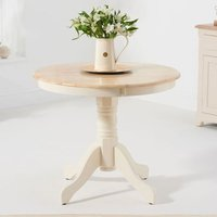 Product photograph showing Elstree Round Wooden Dining Table In Cream And Oak