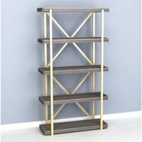 Product photograph showing Elyse Bookcase In Grey Wash With 4 Shelves