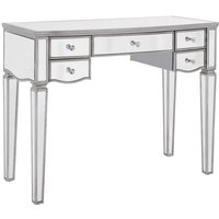 Product photograph showing Elysee Glass Dressing Table In Mirrored With 5 Drawers