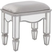 Product photograph showing Elysee Glass Dressing Table Stool In Mirrored