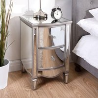 Elysee Mirrored 2 Drawers Bedside Cabinet In White