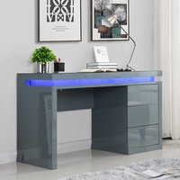 Product photograph showing Emerson Computer Desk In Grey High Gloss With Led