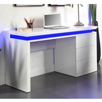 image-Emerson Computer Desk In White High Gloss With LED