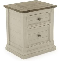 Emery Wooden Bedside Table In Antique White With 2 Drawers