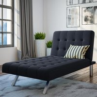 Emily Faux Leather Chaise Single Sofa Bed In Navy Linen Blue