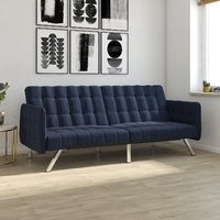 Emily Leather Convertible Clic Clac Sofa bed In Navy Linen Blue