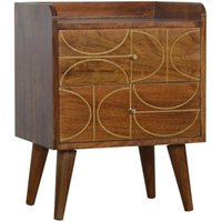 Product photograph showing Emmis Wooden Gold Inlay Abstract Bedside Cabinet In Chestnut