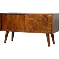 Product photograph showing Emmis Wooden Gold Inlay Abstract Tv Sideboard In Chestnut