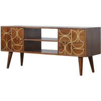 Product photograph showing Emmis Wooden Gold Inlay Abstract Tv Stand In Chestnut
