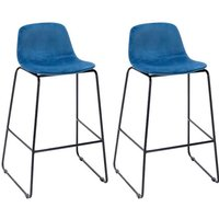 Product photograph showing Emporia Royal Blue Velvet Bar Stools With Metal Legs In A Pair