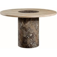 Encore Marble Dining Table Round In Dark Brown And Cream