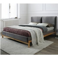 Energy Fabric Double Bed In Asphalt Grey With Wooden Frame