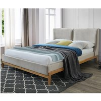 Energy Fabirc Double Bed In Coffee With Wooden Frame