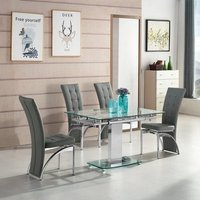 Enke Extending Dining Table In Glass With 4 Ravenna Grey