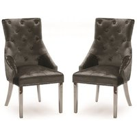 Product photograph showing Enmore Crushed Velvet Dining Chair In Charcoal In A Pair
