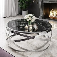 Product photograph showing Enrico Black Marble Coffee Table With Silver Stainless Steel Leg