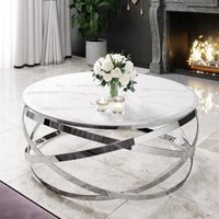 Product photograph showing Enrico White Marble Coffee Table With Silver Stainless Steel Leg