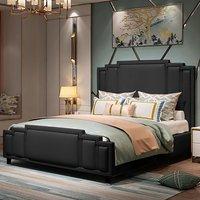 Enumclaw Plush Velvet Single Bed In Black