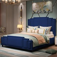 Enumclaw Plush Velvet Single Bed In Blue