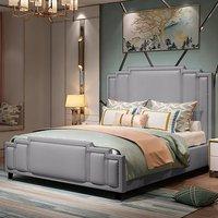 Enumclaw Plush Velvet Single Bed In Grey