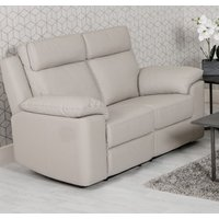 Product photograph showing Enzo Faux Leather Fixed 2 Seater Sofa In Putty