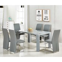Enzo Glass Dining Table Large In Grey Gloss With 6 Ebony Cha