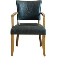 Product photograph showing Epping Pu Leather Arm Chair In Ink Blue With Wooden Frame