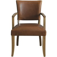 Product photograph showing Epping Pu Leather Arm Chair In Tan Brown With Wooden Frame