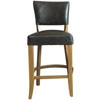 Product photograph showing Epping Pu Leather Bar Chair In Ink Blue With Wooden Frame