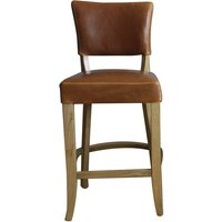 Product photograph showing Epping Pu Leather Bar Chair In Tan Brown With Wooden Frame
