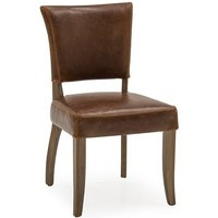 Product photograph showing Epping Pu Leather Dining Chair In Tan Brown With Wooden Frame
