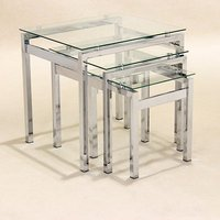 Product photograph showing Epsom Set Of 3 Glass Nest Of Tables With Chrome Legs