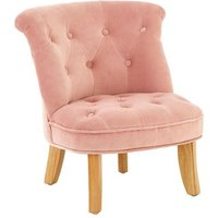 Product photograph showing Ernest Kids Chair In Pink Velvet With Wooden Legs