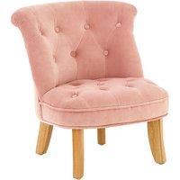 Ernest Kids Chair In Pink Velvet With Wooden Legs