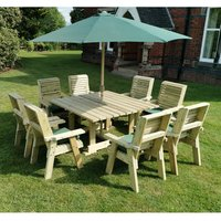 Product photograph showing Erog Square 8 Seater Dining Set With Chairs And Parasol