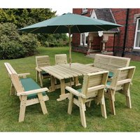 Product photograph showing Erog Wooden 10 Seater Dining Set With Benches And Parasol