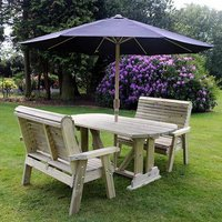 Product photograph showing Erog Wooden 4 Seater Dining Set With 2 Benches And Parasol