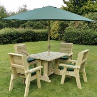 Product photograph showing Erog Wooden 4 Seater Dining Set With Chairs And Parasol