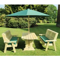 Product photograph showing Erog Wooden 6 Seater Dining Set With 2 Benches And Parasol