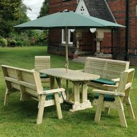 Product photograph showing Erog Wooden 6 Seater Dining Set With Benches And Parasol