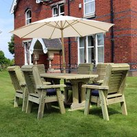 Product photograph showing Erog Wooden 6 Seater Dining Set With Chairs And Parasol