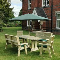 Product photograph showing Erog Wooden 8 Seater Dining Set With Benches And Parasol